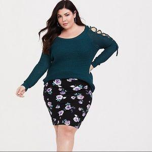 Torrid Black Floral Knit Skirt Size 0X